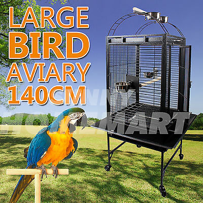 New Large Black Arched Roof Pet Bird Parrot Canary Cage Castor Wheels 140CM