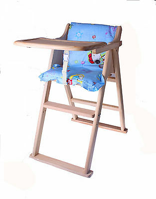 Wooden Folding Baby Highchair Natural Wooden Foldable Baby High Chair