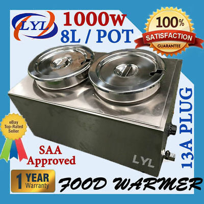 New 2 x 8L Pot Stainless Steel Bain Marie Food Warmer Soup Bain Marie