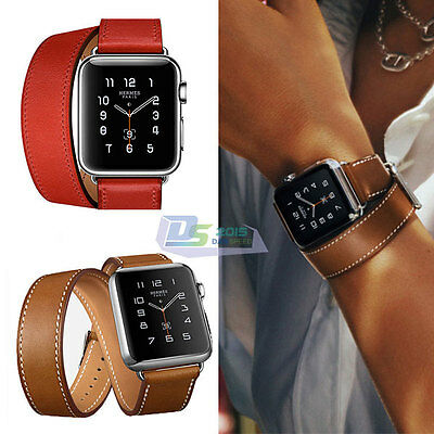 Genuine Leather Band Double Tour Watchband Strap For Apple Watch iWatch 38/42mm