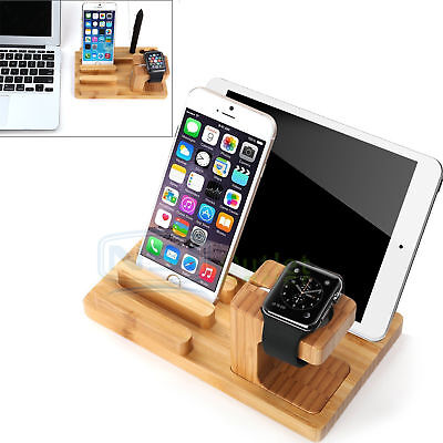 Bamboo Charger Dock Station Stand Holder For Apple Watch iWatch iPhones iPads