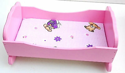 """Wooden toy cot cradle for dolls, toy rocking bed , 12,5"""" long"""