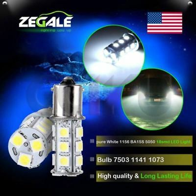 2pcs White 18SMD 1156 BA15S Led bulbs Tail Backup 12V RV Camper 1141 1003 2056