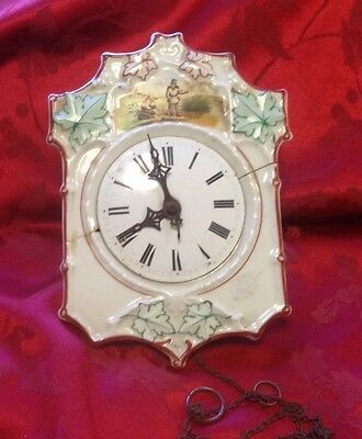 Antique Black Forrest Porcelain Dial German Wall Clock For Restoration