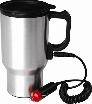 12v AUTO STAINLESS STEEL HEATED TRAVEL MUG FLASK WITH CAR CHARGER