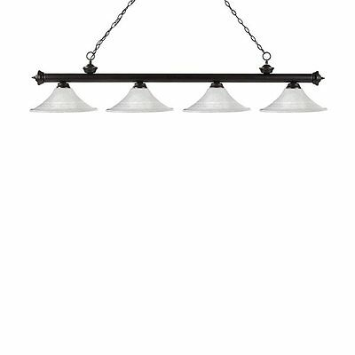 Z-Lite 200-4BRZ-FWM16 Riviera 4 Light Billiard Light Fluted Glass Shades