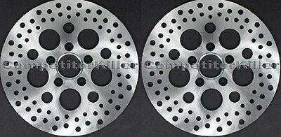 """Harley Brake Rotors 11.5"""" Two Front Satin Finish Stainless Steel Drilled 5 Hole"""