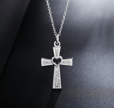 Women's 925 Sterling Silver Cross Necklace Chain Clear Crystal Heart Pendant UK