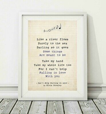 055 Elvis - Can't Help Falling In Love - Song Lyric Poster Print - Sizes A4 A3