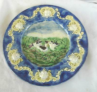 Birds Encircled by Cherub Heads Rare Antique Majolica Plate~Nice Colors