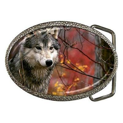 Gray Timber Wolf Belt Buckle Chrome Finish! New! Gorgeous!
