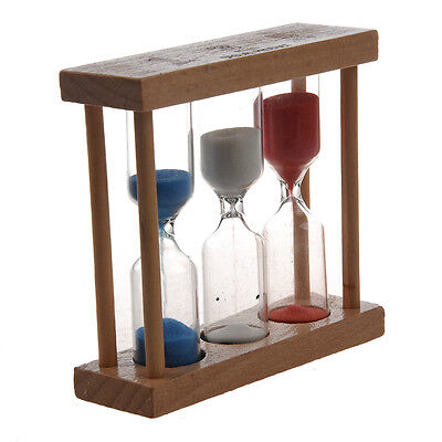 3 in 1 Sand Timer 1+3+5 Minute - Natural Wood