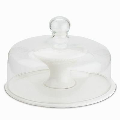 Glass Dome Cake Stand Ceramic Pedestal Base 9 Inch Cakes Muffin Cupcake Dome Lid
