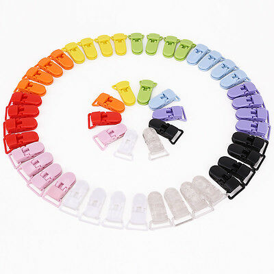50 Pcs 10 Colours Pacifier Holder Clips Bulk Plastic Baby Girl Boys Dummy Clips