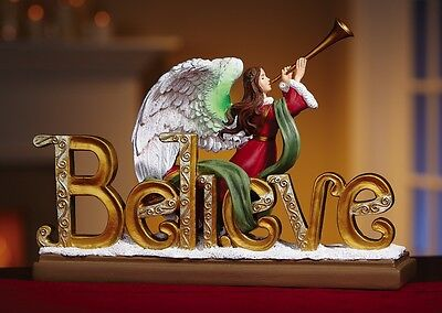 Christmas Angel with Trumpet Believe Hark the Herald Lighted Tabletop Decor