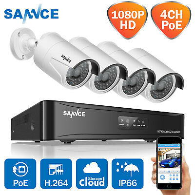 SANNCE 4CH 1280*960P HD NVR POE Security IP Camera Kit System Network Outdoor UK