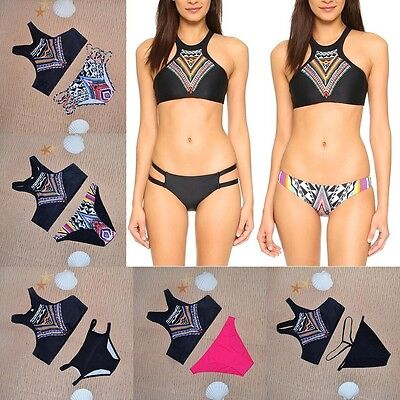 High Neck Crop Bikini Tribal Print Tops Teeny Cut Bottoms Swimwear Mix n Match