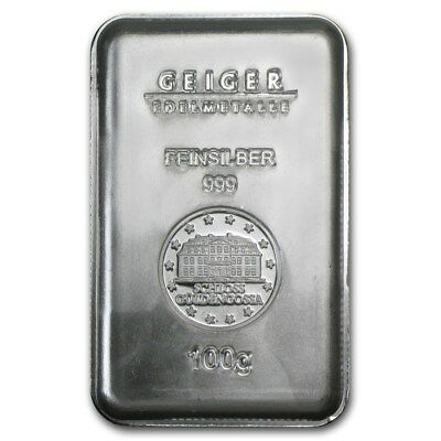 100 gram Silver Bar - Geiger (Security Line Series) - SKU #74695