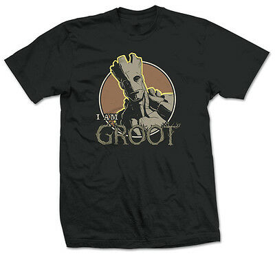 GUARDIANS OF THE GALAXY GROOT MARVEL OFFICIAL T-SHIRT Black Cotton - I AM GROOT