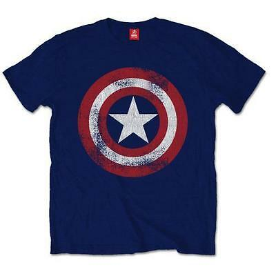 MARVEL CAPTAIN AMERICA SHIELD DISTRESSED OFFICIAL T-SHIRT Navy Cotton - Avengers