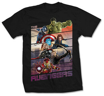 MARVEL THE AVENGERS BARS OFFICIAL T-SHIRT Black Cotton - Thor Iron Man Widow
