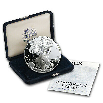 1998-P 1 oz Proof Silver American Eagle (w/Box & COA) - SKU #1063