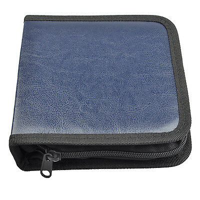 DVD Discs Faux Leather Organizer Holder CD VCD Case Storage Bag Blue AD