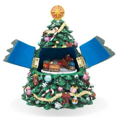 "5"" Tabletop Christmas Tree Music Box with Rotating Train Figurine"