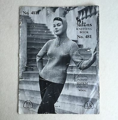 Vintage 50s PATONS 8ply SWEATERS Hooded JUMPER Pattern KNITTING Book #481