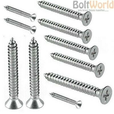 A4 MARINE GRADE STAINLESS STEEL COUNTERSUNK SELF TAPPING SCREWS No.6,8,10,12