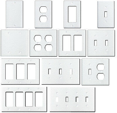 Wrinkle White Textured Metal Wall Plate Covers Switch Plates Outlet