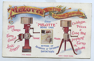 C1910 Lithographed Adv Postcard Melotte The King Of Cream Separators Adel. E62