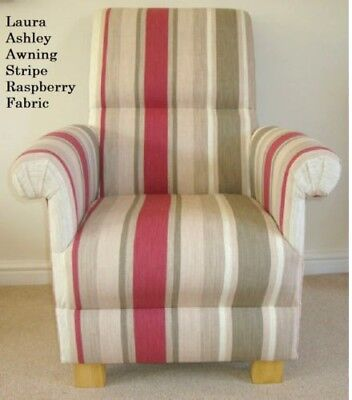 Laura Ashley Awning Stripe Raspberry Fabric Chair Lichen Red Cream Armchair New