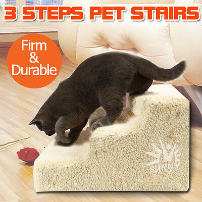DOG PET STEPS Doggy Stair Ladder Cat Ramp Toy Soft Plush Washable Cover Portable
