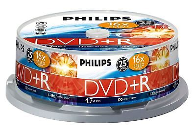 Philips DVD+R 120 Mins 4.7GB 16X Speed Recordable Blank Discs - 25 Pack Spindle