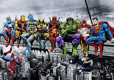 MARVEL - SUPERHEROES ON A BEAM/GIRDER Iconic Painting Wall Art Canvas Print
