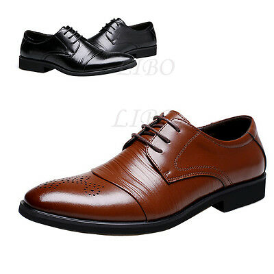 Men Business Leather Shoes Dress Formal Oxfords  Pointed Toe Bridegroom Wedding