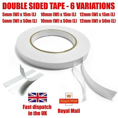 Strong Adhesive Clear Double Sided Sticky Tape DIY Craft Gift-Wrap 5mm 10mm 12mm