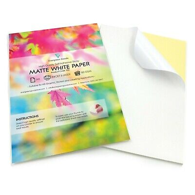 Quality A4 White MATT Self Adhesive / Sticky Sticker Label Printing Paper Sheet