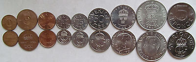 Sweden set of 9 coins 1971+(1+2+5+10+25+50 ore +1+2+5 kronor) UNC
