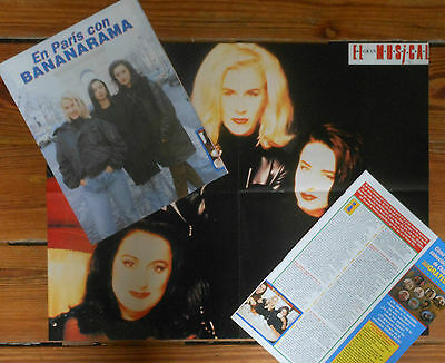 BANARAMA 1992 Poster & 2 page article spanish clippings lot photos