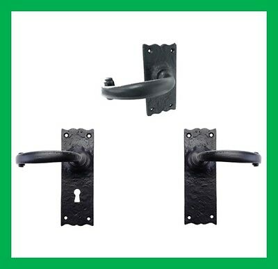 Cast Iron Black Antique Fancy Backplate Plain Lever Latch Lock Door Handles Set