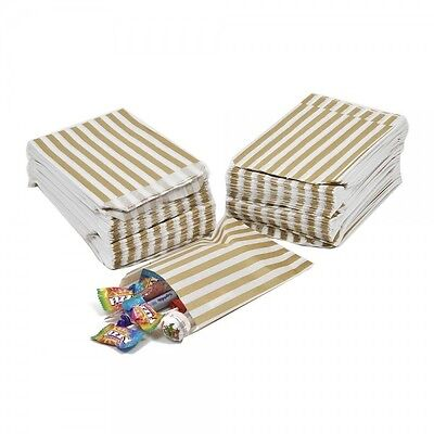 100 x  Candy Stripe GOLD Sweet / Gift Paper Bags - 5'' x 7''