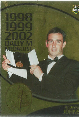 2010 Nrl Footy Football Collector Card Andrew Johns Dally M Medallist