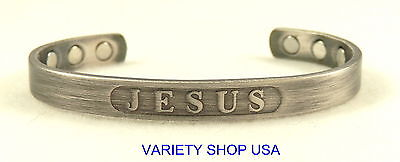 Antiqued Alloy Jesus Magnetic Therapy Adjustable Cuff Religious Bracelet BA08S