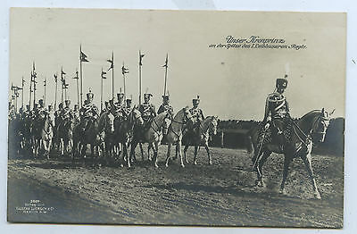 1914 Rp Npu Postcard German Crown Prince Leads Cavalry Regiments E75