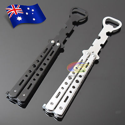 Butterfly Knife Bottle Opener Training Practice Folding Tool Balisong Stainless