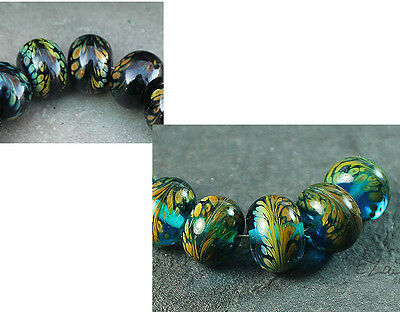 Feathered - Handmade Round Glass Lampwork Beads SRA MTO - Your color choice!