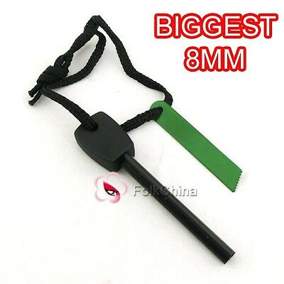 Survival Magnesium Flint And Steel Striker Fire Starter Lighter Stick Camping