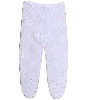 Preemie Micro Baby Clothes Accessories Girls White Lacey Tights Bow Design